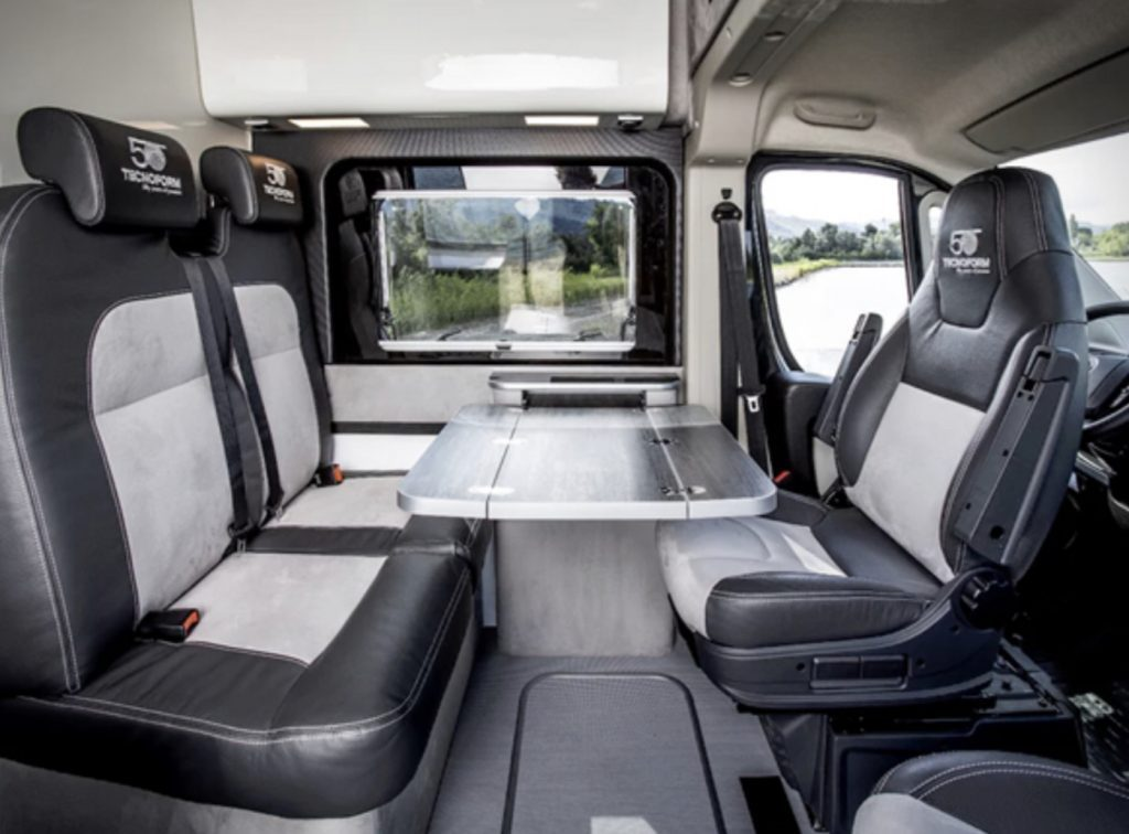 Fiat Ducato Camper seating area with table