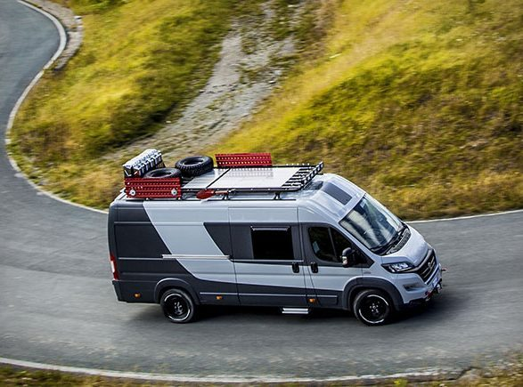 Exterior of camper driving on road