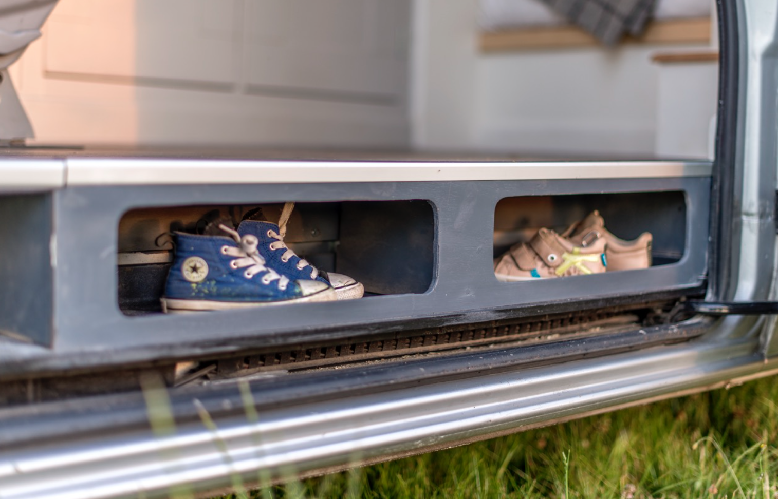 This Moving House Sprinter Conversion - Shoe Storage