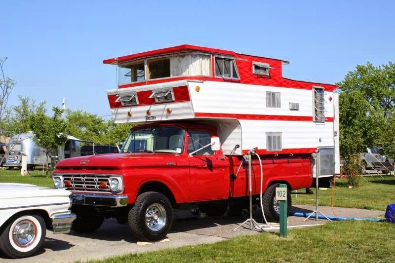 Truck Campers - Double Decker Vintage Red