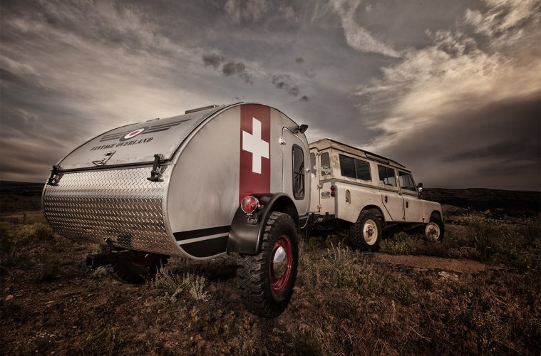 Best teardrop campers - The all-metal Vintage Overland Trailer complete with Swiss flag graphic and aluminium kick plate.