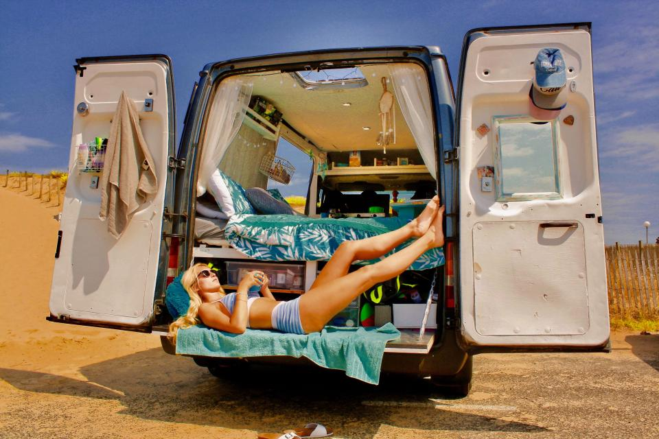 ford transit camper conversion - sunbathing