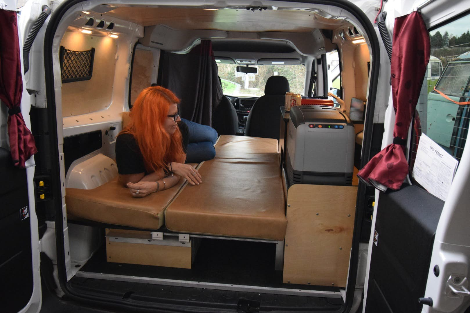 stealth camper van - bed