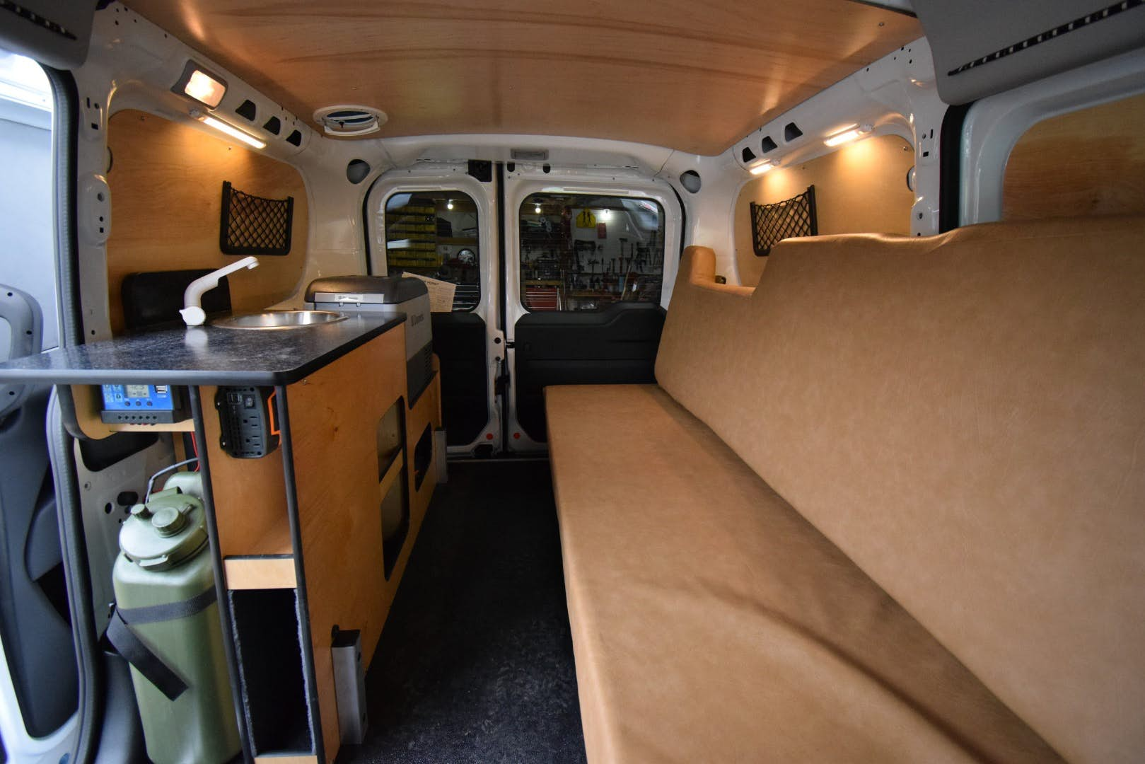 stealth camper van - living area