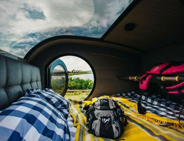 best teardrop trailers - mini trailer has amazing sky roof window