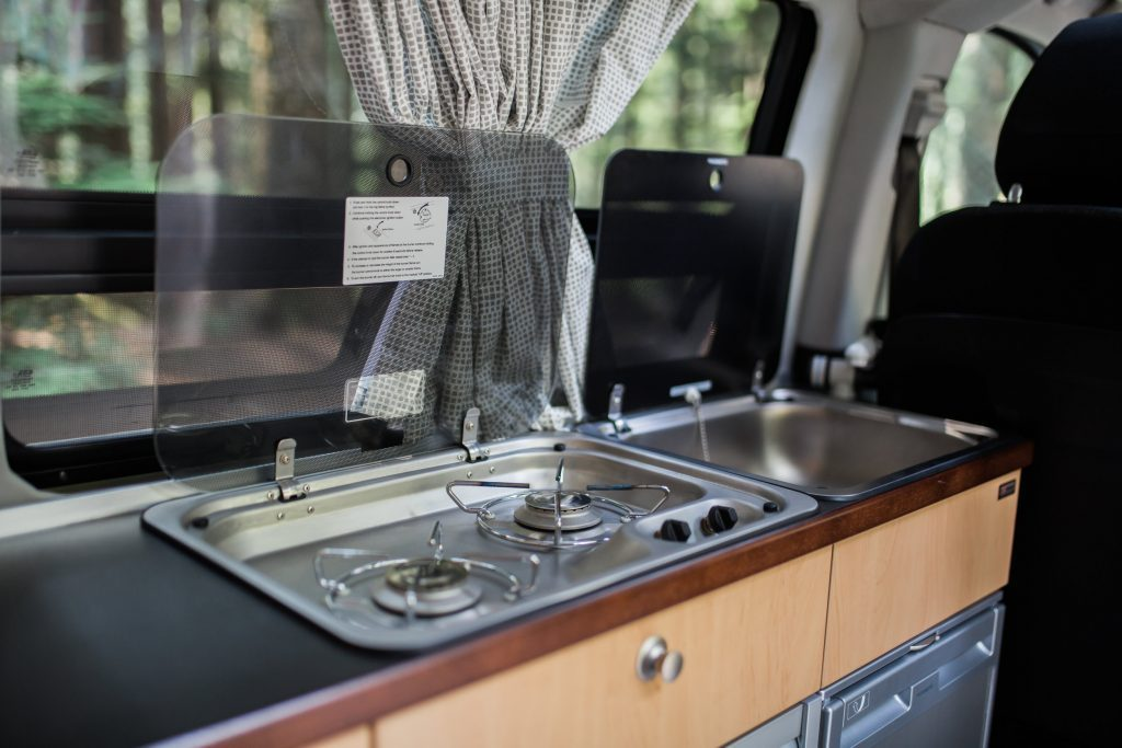 compact camper van - kitchen
