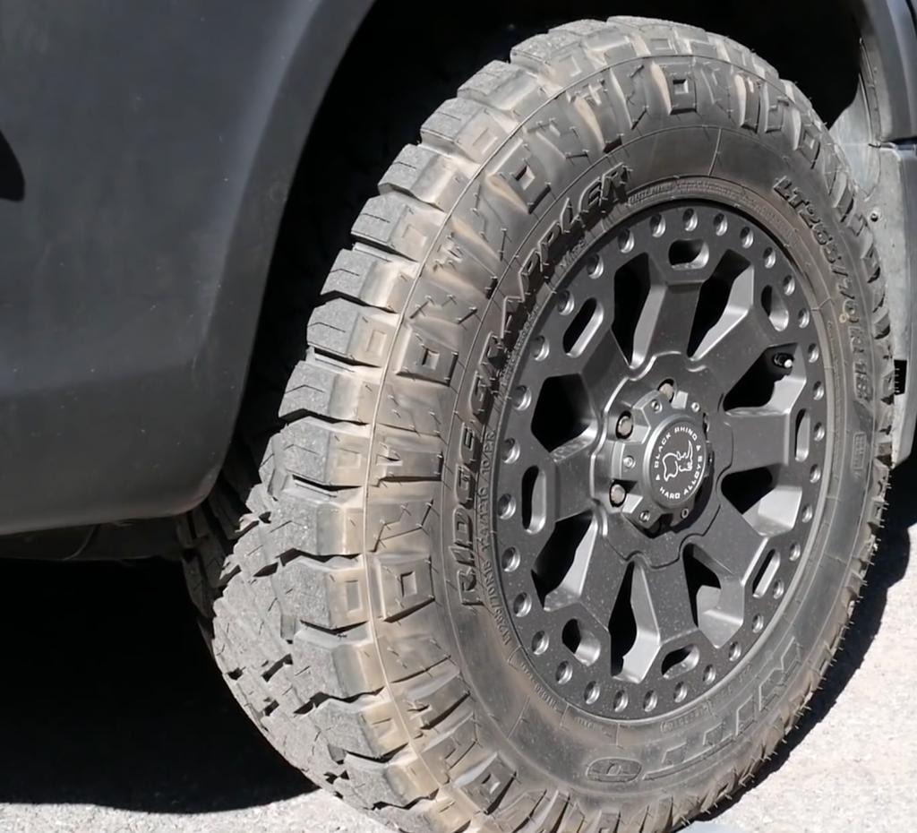 Black Rhino Warlord beefy tyres on Outside Van Campers