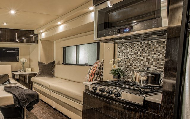 carbon fiber caravan - kitchen close up