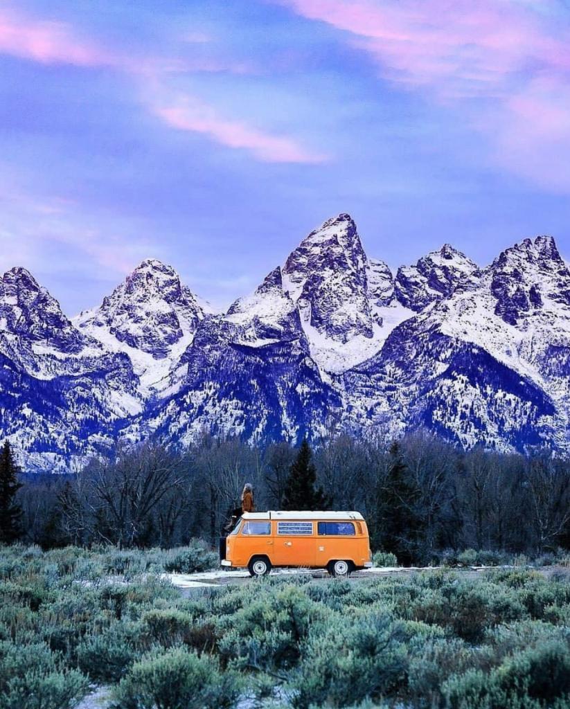 travel in a van - orange VW