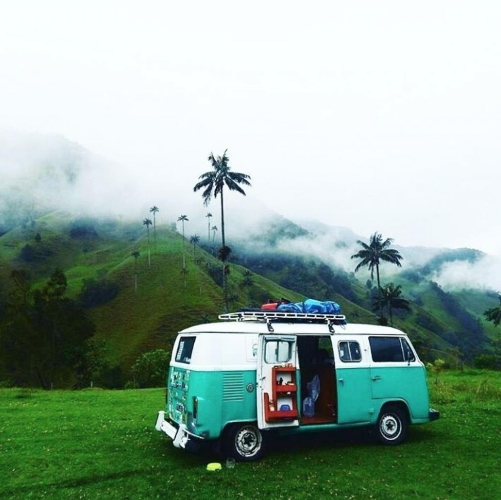 travel in a van - green VW