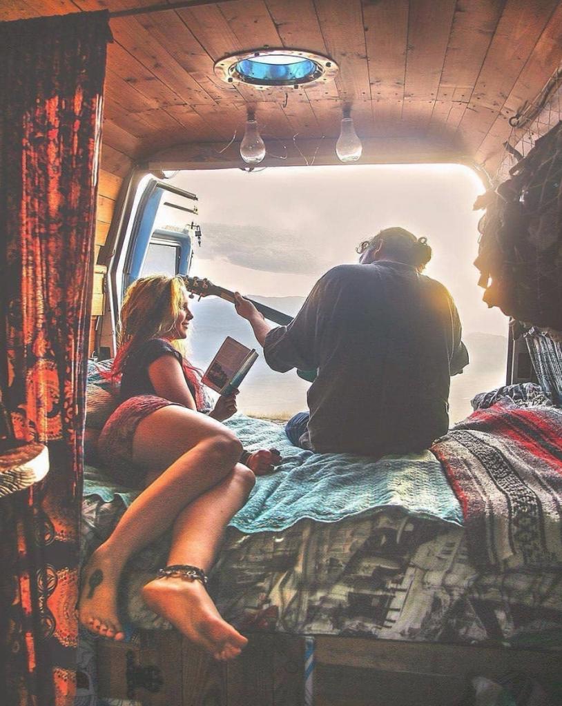 travel in a van - bed shot