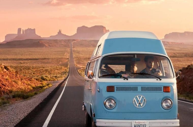 travel in a van- blue VW
