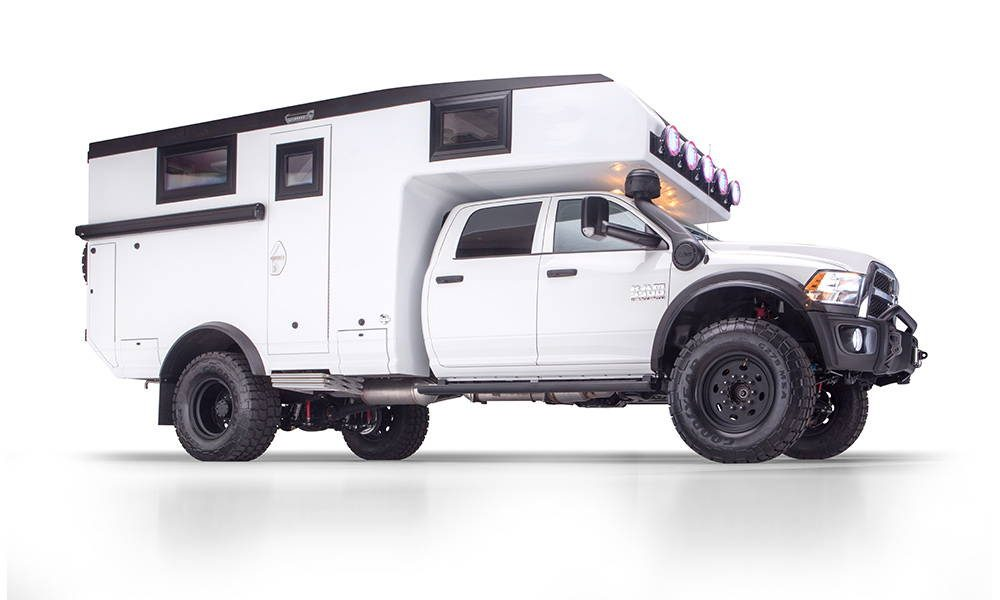 Global X Camper - Side profile of white exterior of truck.