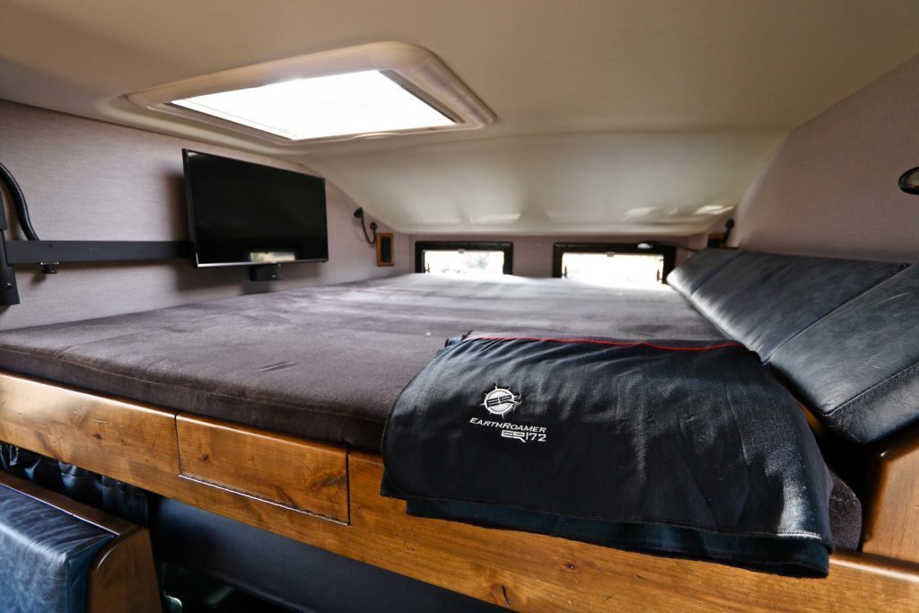 The bed is spacious and on a mezzanine level.