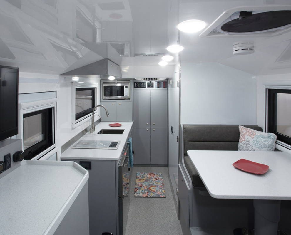 Interior shot of camper, facing the kitchen.