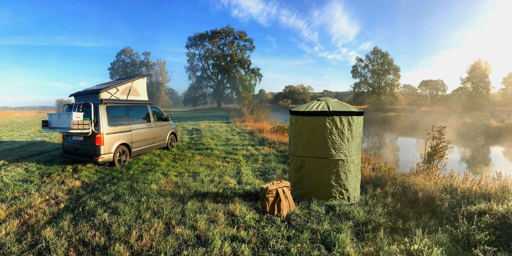 best trailer accessories - InstaPrivy toilet erected in the wild