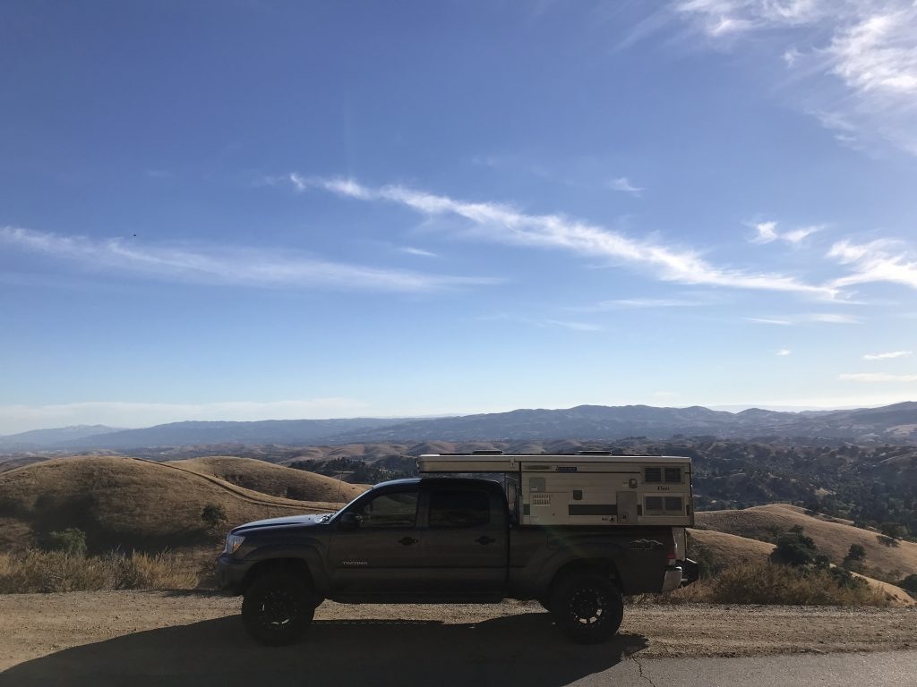 Parked by the sand dunes on Highway 1