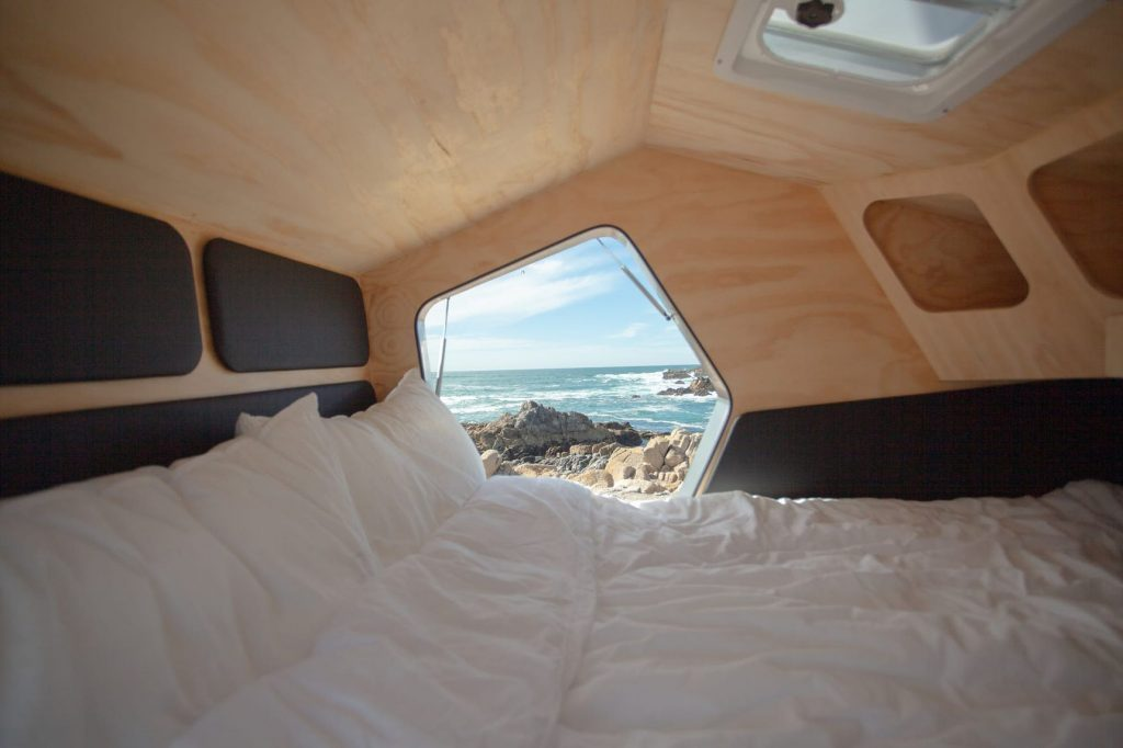Best Teardrop Trailers - futuristic sleeping pod inside the Polydrop Trailer