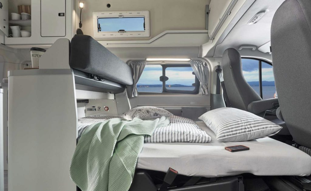 Ford Transit Nugget sleeping arrangement for the second bed