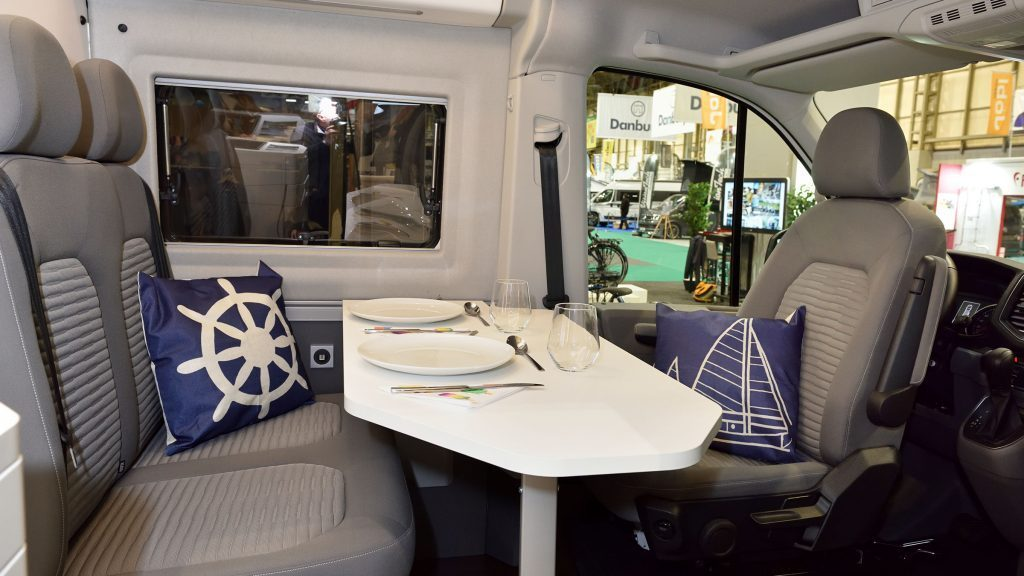 Dining table in the VW Grand California
