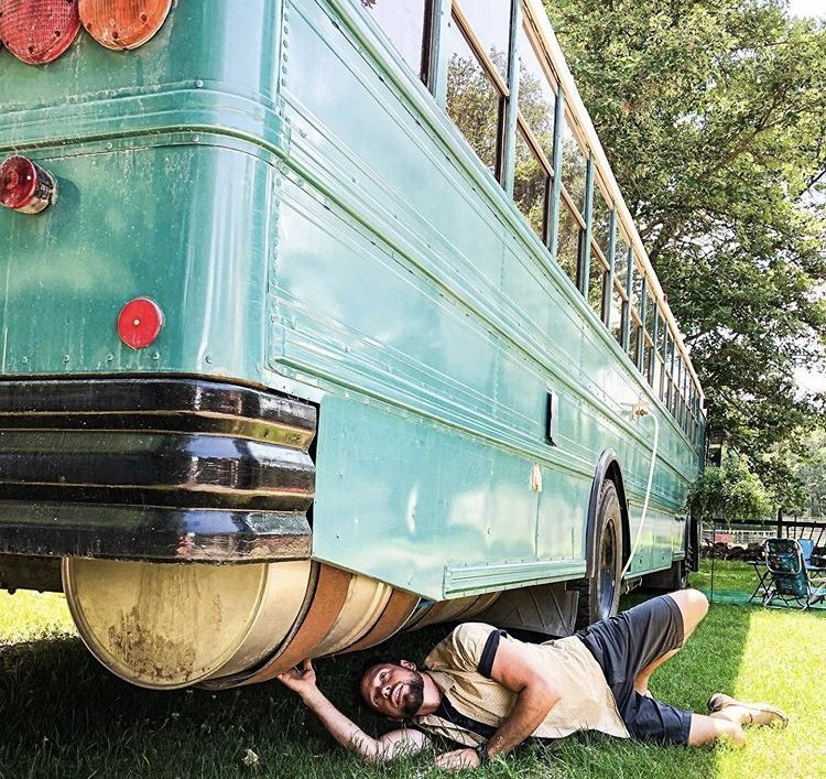 Living off the grid- fitting a water filtration system to a bus.