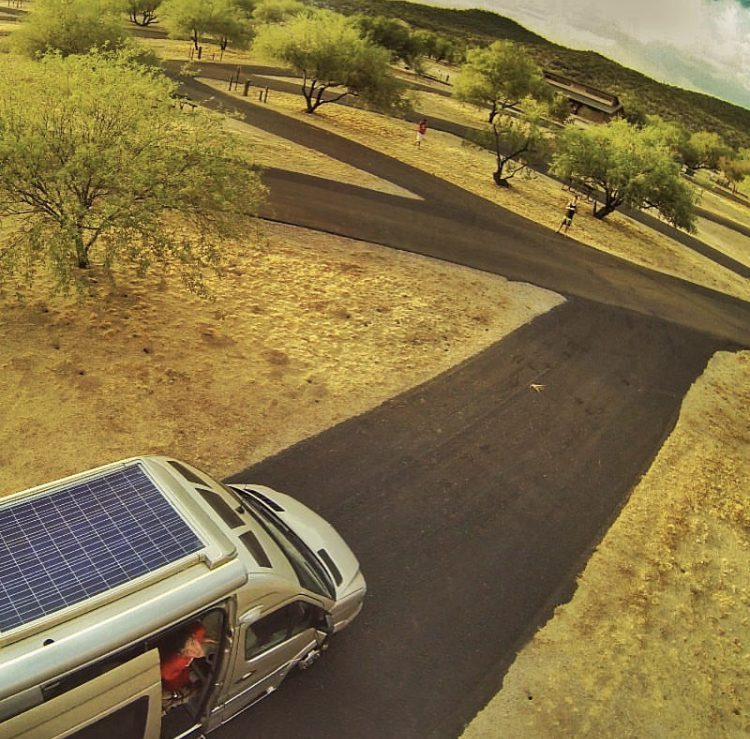 Birds eye view of van with solar panels.