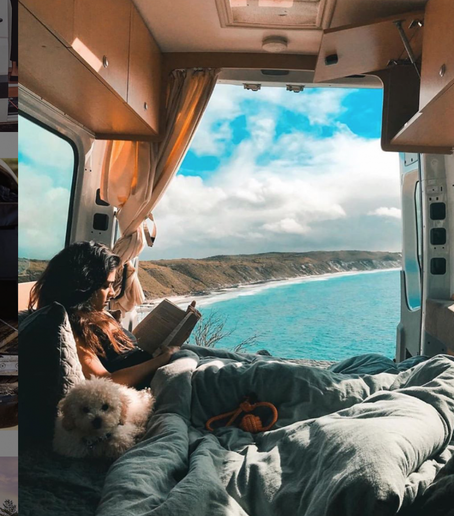 Off Grid Camper - Pratty McWueen reading and looking out at a bay