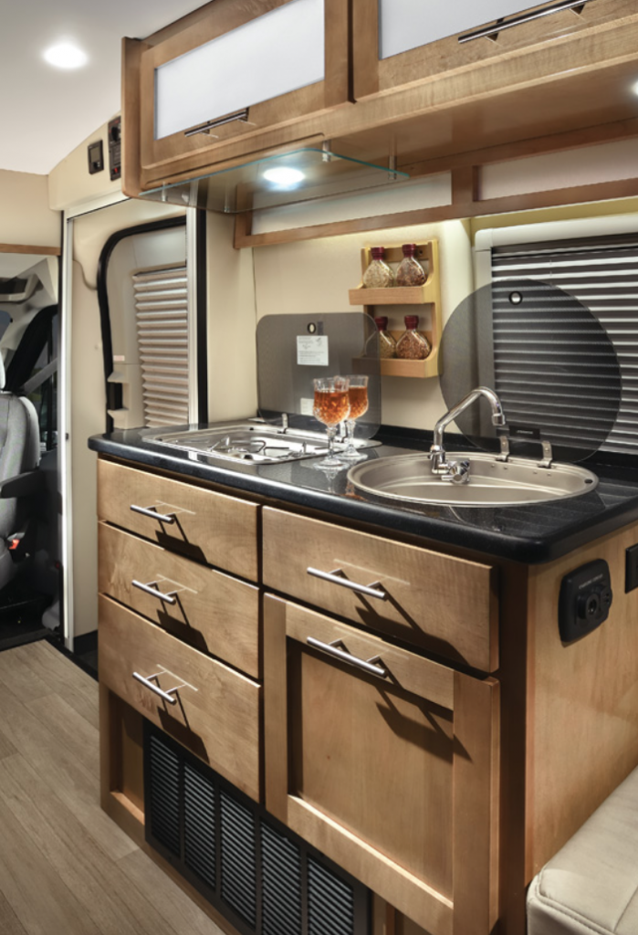 Wooden interior inside the Coachmen Beyond Motorhome
