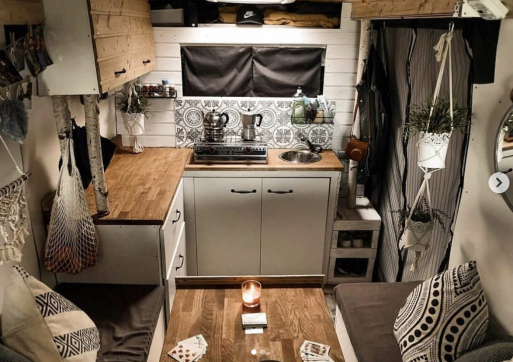 Camper van kitchen.