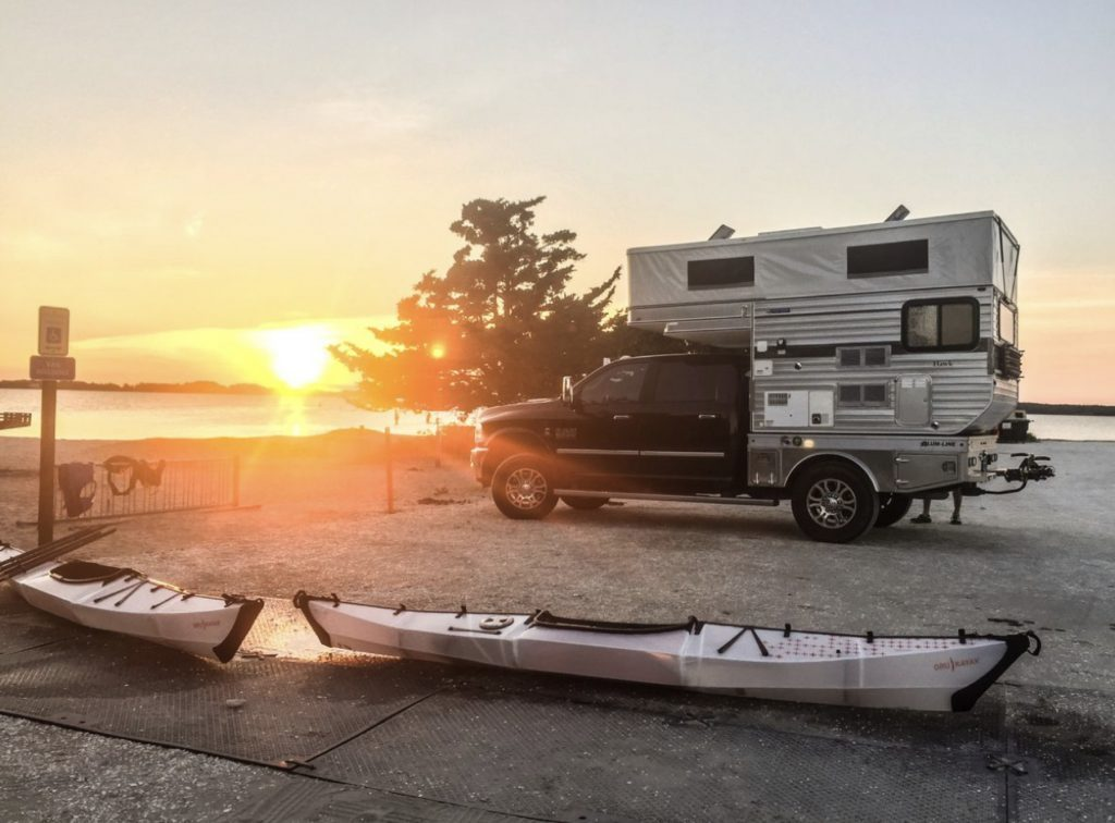 Four wheel camper and kayaks. Living in a four wheel camper.