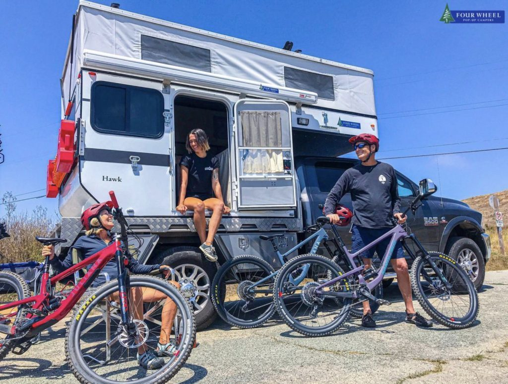 Four wheel camper and mountain bikes