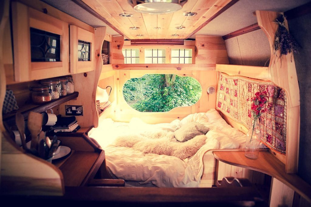 Inside a wooden camper from Quirky campers