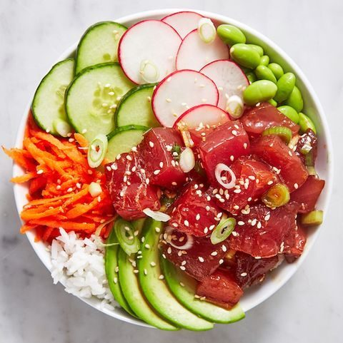 poke bowl with tuna and veg on top