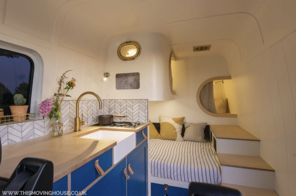 Custom Vans- sleeping pod interior of camper.