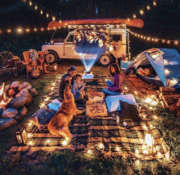 outdoor Harry Potter film night, camper life