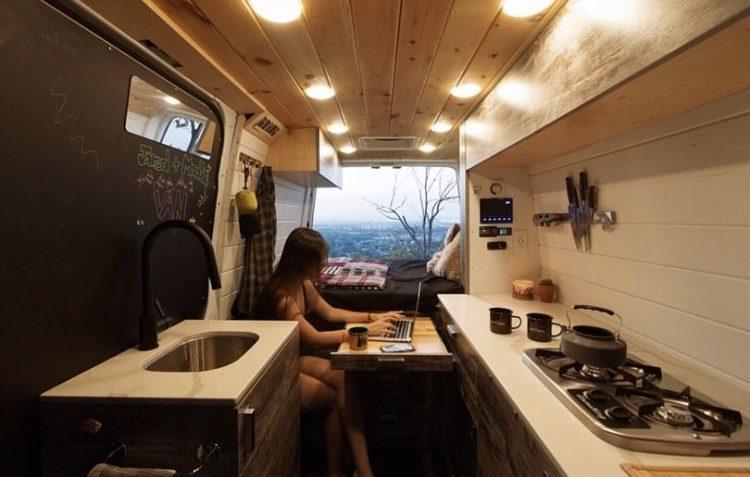 Camper life- woman working inside van