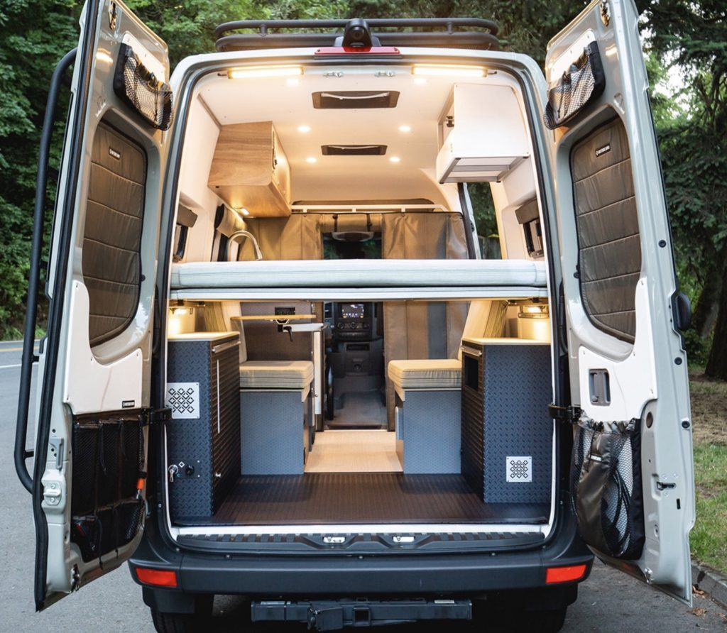Back view of sprinter conversion in custom vans.