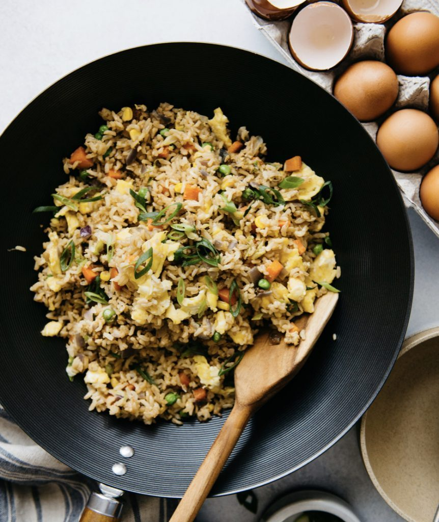 campervan recipes: egg fried rice in wok
