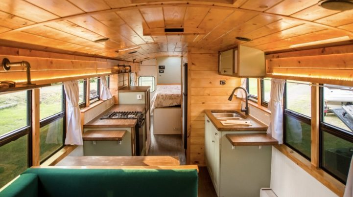 Wooden school bus converison interior.