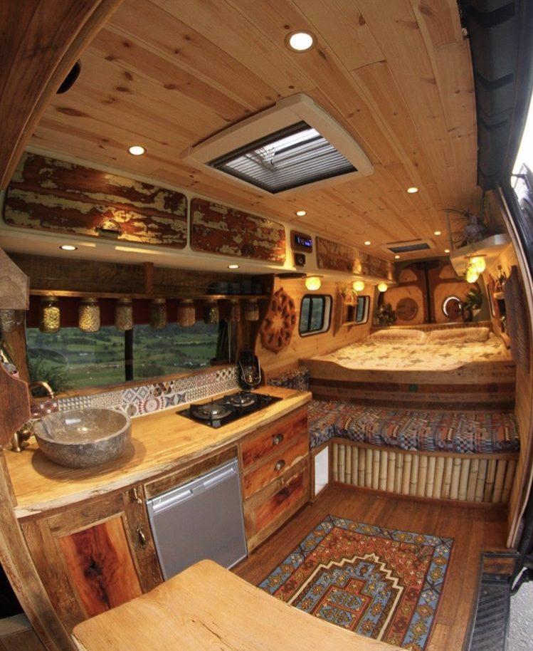 Camper life- wooden interior of campervan