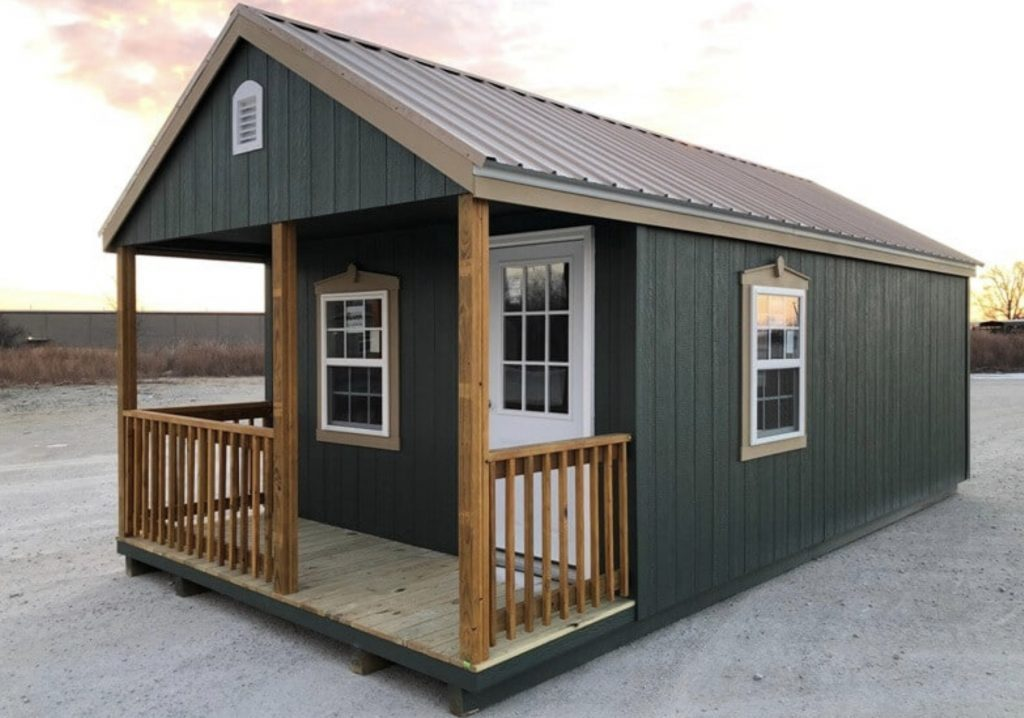 Green Shed with deck