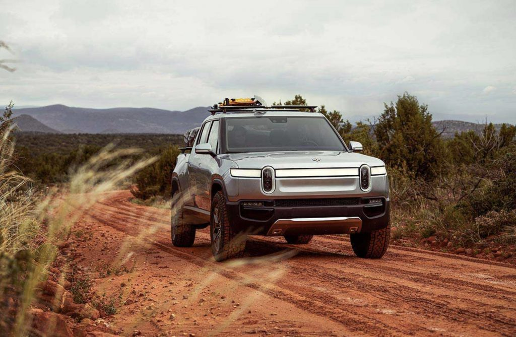 Rivian Electric Truck on a dirt road