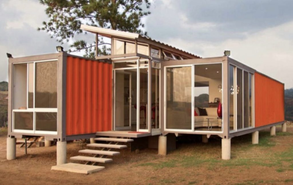 Shipping containers with large windows.