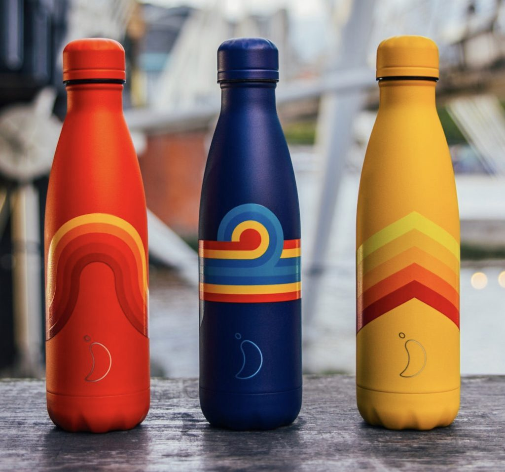 Three bright retro patterened Chilly flasks