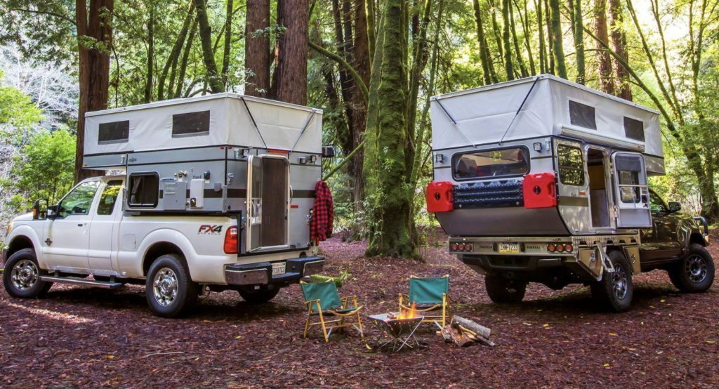 Best Small RV - two four wheel campers making camp in forest