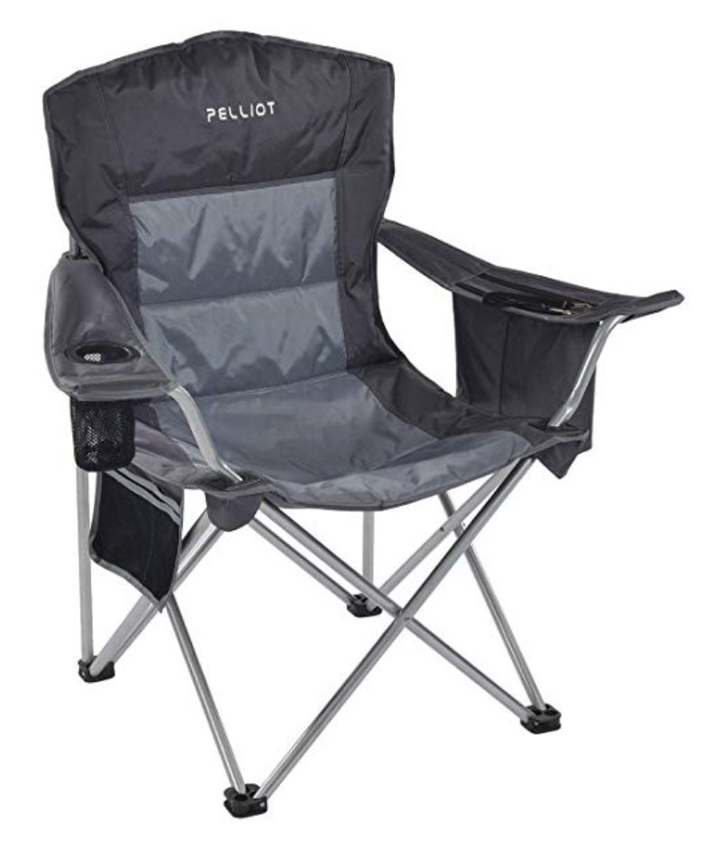 Grey camping chair with cup holder.