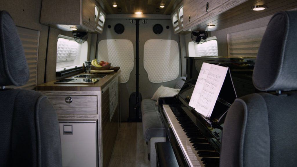 Custom camper with piano inside