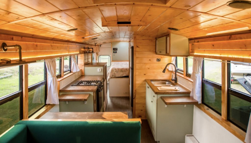 Best camper vans - inside the bus kitchen and bedroom