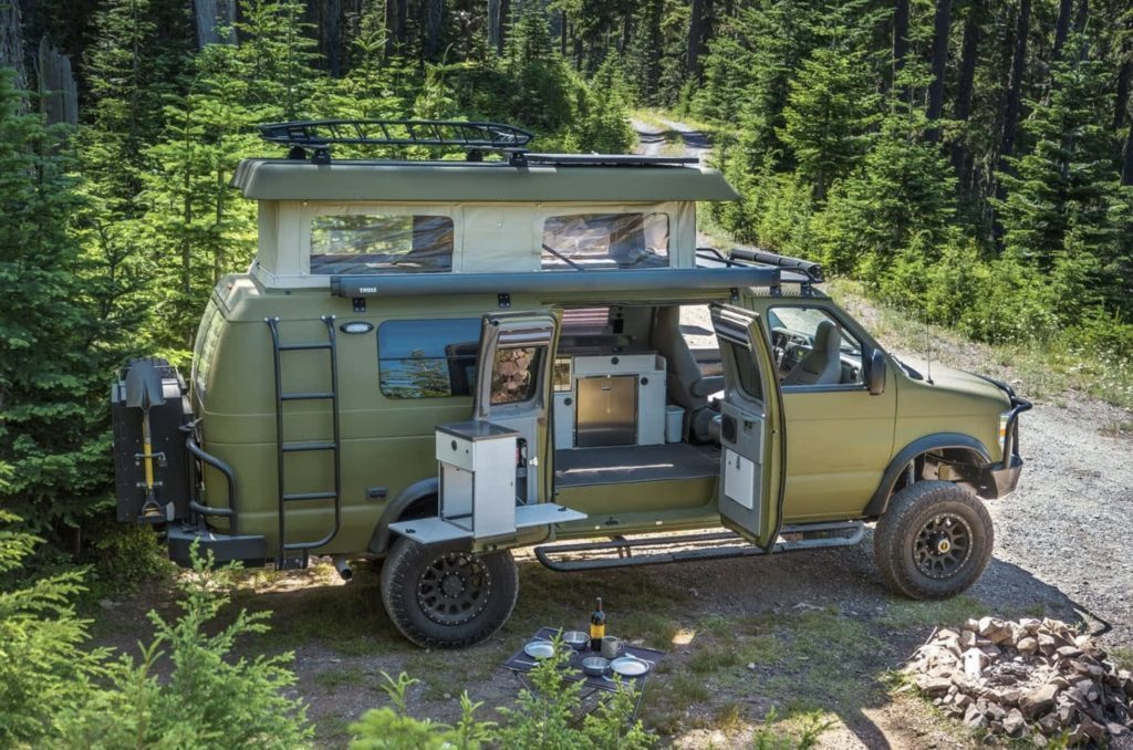Best camper vans - sportsmobile exterior with side doors open