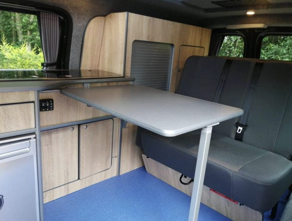 Inside VW Caddy camper